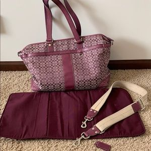 Purple Coach Voyager Diaper Bag
